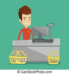 Cashier standing at the checkout in supermarket. - Young...