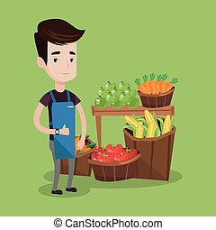 Friendly supermarket worker vector illustration - Young...