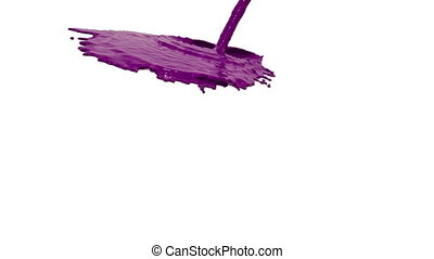 purple liquid flow covers a surface in slow motion. Colored paint