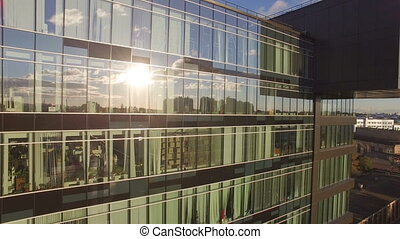 Aerial view of reflections in Windows. They reflect the...