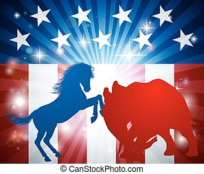 American Election Concept - Mascot animals of American...