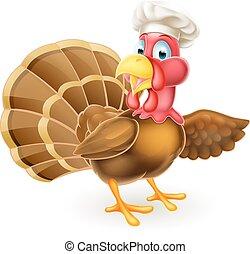 Cartoon Turkey Bird Chef Pointing