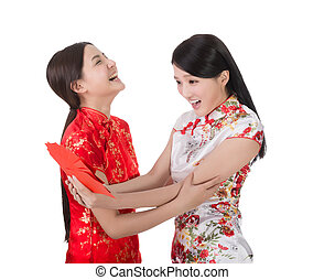chinese new year woman - Attractive Chinese woman dress...