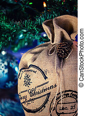 Santa Claus Bag under Christmas tree, Xmas festive...