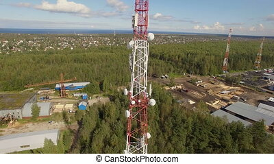 Aerial view of Antenna telecommunication tower multiple...