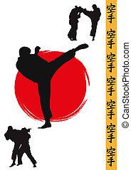 Hieroglyph of karate and men demonstrating karate
