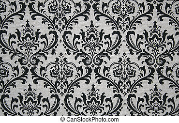 Grey and Black Damask Pattern - Black on grey seamless...