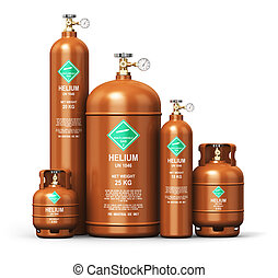 Set of different liquefied helium industrial gas containers...