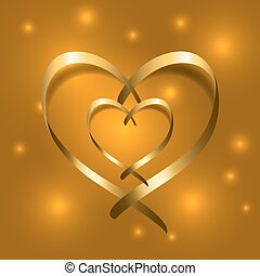 Two Gold silk ribbon hearts Golden couple satin silhouette