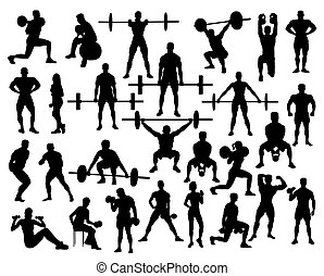 Sport Silhouette of weightlifting and Bodybuilding, art...