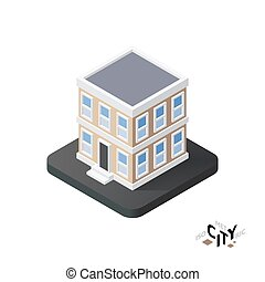 Isometric townhouse icon, building city infographic element, vector illustration