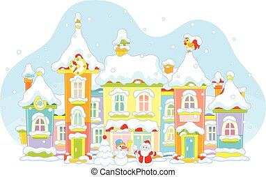 Winter toy town - Vector illustration of a toy town with...