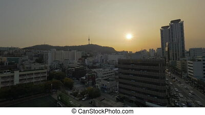 Seoul panorama at sunset. South Korea - Wide angle shot of...