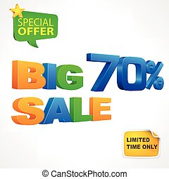Big sale inscription 70 - Big sale 70 percent inscription on...