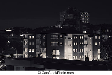 City Buildings at Night - Town in Serbia, during night in...