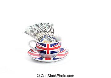 Dollar bills in a cup