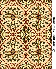 Beige and red floral wallpaper.