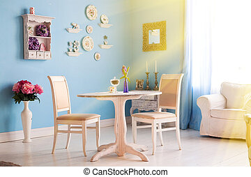 blue dining room with decoration plates