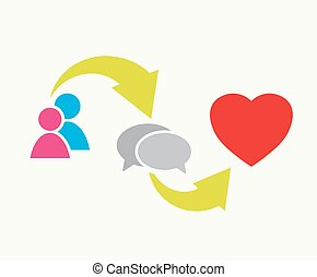 communication cycle vector - people, speech bubbles and...