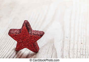 Red star on wooden background - Small Red star on wooden...