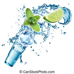 Ice cubes, mint leaves, water splash, lime and glass on a...