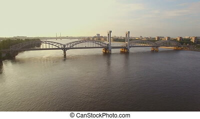 beautiful aerial view of the railway bridge across the river