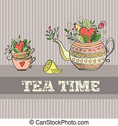 Background with teapot - Vector background with cute teapot...