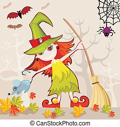 halloween card - vector illustration of a halloween card...