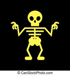 flat icon on background halloween skeleton - flat icon on...