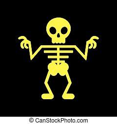 flat icon on background halloween skeleton - flat icon on...