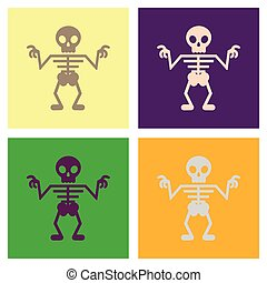 assembly flat icons halloween skeleton - assembly of flat...