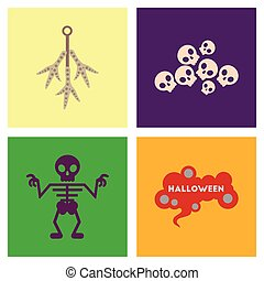 assembly flat icons halloween skeleton sign chicken feet...