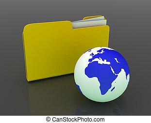 3D rendered Illustration. Global network folder - shared directory.