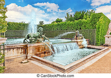 Fountain with lions in a beautful and Famous Gardens of...