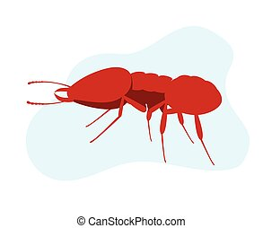 Fire Ant - Red Creepy Fire Ant Vector Illustration