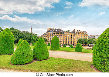 Park near main entrance to Les Invalides Paris, France