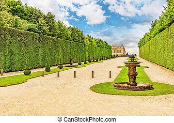 Beautiful Garden in a Famous Palace of Versailles (Chateau...