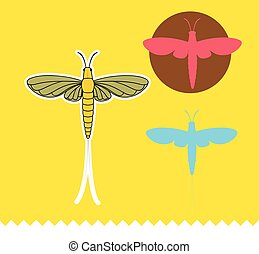 Mayfly Insects Vector Illustration