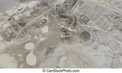 aerial view of a sandstone quarry with processing lines -...