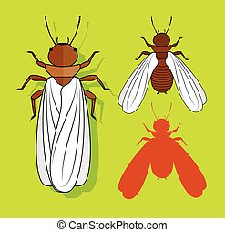 Winged Termite Insects Vector Illustration