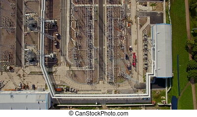 aerial view of electrical power substation in the city. She...