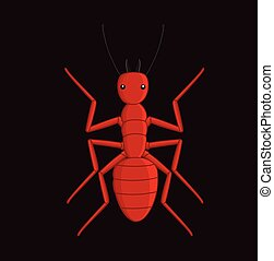 Creepy Fire Ant Vector Illustration