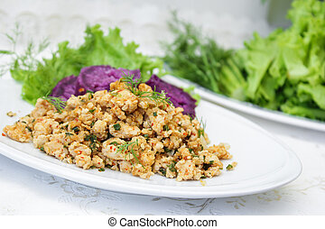 Thai Spicy minced chicken salad