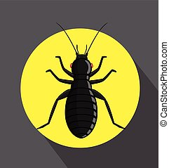 Black Louse Insect Vector Illustration