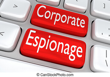 Corporate Espionage concept - 3D illustration of computer...