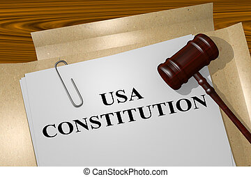 USA Constitution - legal concept - 3D illustration of USA...