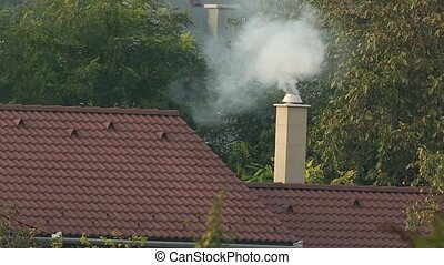 Chimney with rising smoke