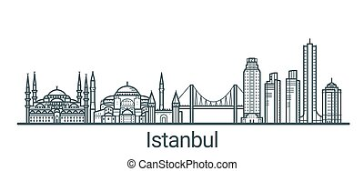 Outline Istanbul banner - Linear banner of Istanbul city....