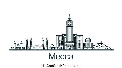Outline Mecca banner - Linear banner of Mecca city. All...