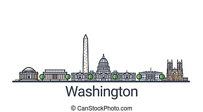 Flat line Washington banner - Banner of Washington D.C....
